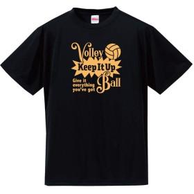 バレーボール Tシャツ ドライシルキー ウェア 練習着に!V801 150 ブラック×ゴールド