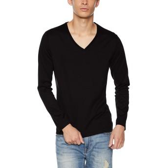 (エストネーション) ESTNATION VネックロングスリーブTシャツ (GIZAndyシリーズ) M ブラック メンズ