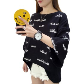 YiTong レディース 半袖 夏 ゆったり Tシャツ シンプル 半袖シャツ ファッション トップス かわいい カットソー 着痩せ ラウンドネック シャツ オフショルダー ブラックW