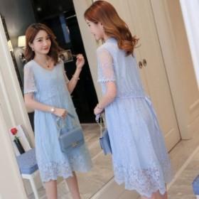 マタニティドレス ワンピース 膝丈 ひざ丈 半袖 ドレス レース 体型カバー 大きいサイズ 白 ピンク 青 韓国