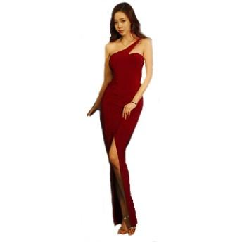 [KimBerley] ワンピース ノースリーブ ロング丈 赤 ラインストーン ロングドレス ドレスライン ファッション セクシー スリット