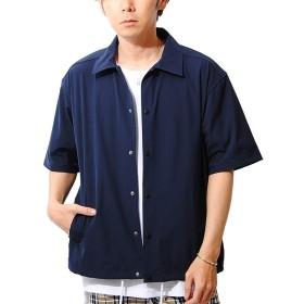 リ.エーピー [Re-AP] ビッグシルエット コーチシャツ メンズ 5分袖 半袖 コーチジャケット (M, ネイビー)