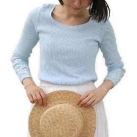 (ワールド) ワッフル素材 袖レースモチーフ付き カットソー Tシャツ 伸びる オールシーズンOK コットン100% レディース (ライトブルー, XS)