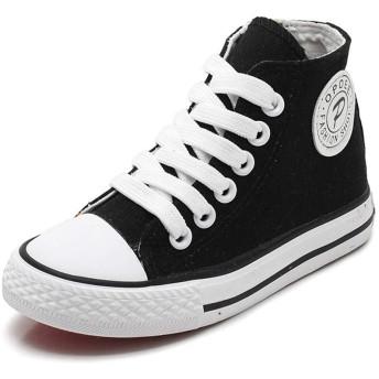 [チャンピオン靴店] 子供靴女の子のための男の子スニーカージーンズキャンバス子供靴デニムランニングスポーツファッションベビースニーカー男の子ジーンズ靴 22cm 黒