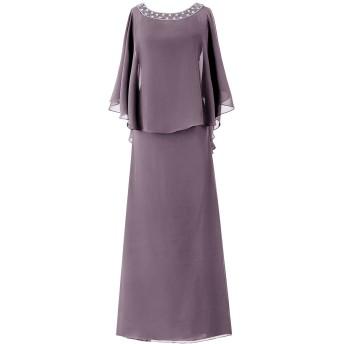 Dresstell(ドレステル) フォーマル 結婚式ドレス ドルマンスリーブ ビジュー付き ママのタイプ レディース グレー 13号