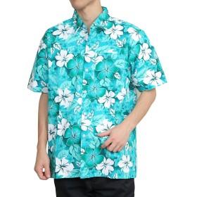 [OKI(オキ)] アロハシャツ フリーサイズ ユニセックス カラフル ダンス 衣装 イベント メンズ レディース (L, アロハグリーン)