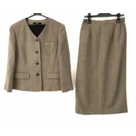ダックス DAKS スカートスーツ サイズ13 L レディース 美品 ベージュ×黒 ヘリンボーン【中古】20190709