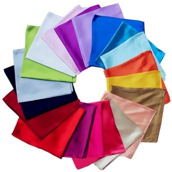 60cm正方形スカーフ 中判単色スカーフ レディーズ 純色無地柄UVカット 美しさ際立つ 企業制服スカーフ シルク調 オフィススカーフ (C2)