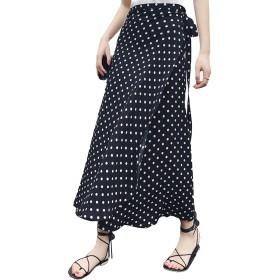 [ミニマリ]ロングスカート ドット 水玉柄 ハイウエスト ゆったり リゾート 巻きスカート マキシ丈 白黒 ブラック フリーサイズ