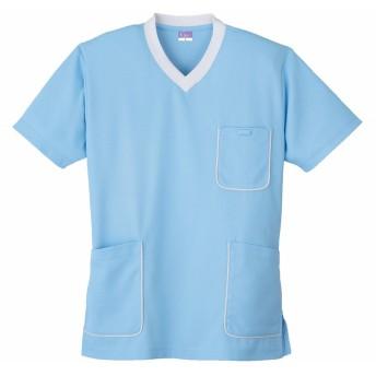 (小倉屋) KOKURAYA スクラブニットシャツ(Carenシリーズ・抗菌防臭機能)《013-390》 (M, 6-サックス)