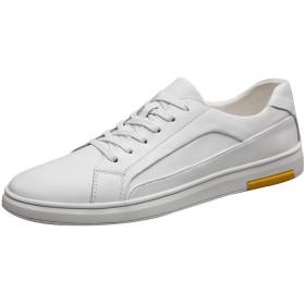 [レンシー] スニーカー メンズ レザーカジュアルシューズ レースアップ ウォーキング 革靴 スポーツ 柔らかい アウトドア 快適 軽量 通気 white44