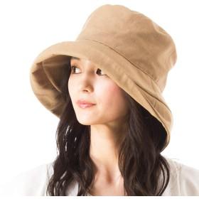 クイーンヘッド 小顔 UVカット 帽子 麻綿ブリムUVハット レディース ハット 大きいサイズ つば広 紫外線カット 女優帽 【XL58.5-61cm-ブラウン】