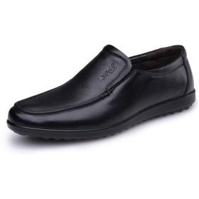 [QIUXL] 高品質革靴 紳士靴 ウォーキング ビジネスシューズ メンズ ドライバーズシューズ 通気性抜群 通勤 カジュアルシューズ 牛革(black-43)