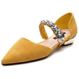 [AYBTO] ポインテッドトゥ パンプス 22.5cm レディース 歩きやすい 痛くない エナメル 美脚 フラット 脱げない ハイヒール パンプス イエロー 歩きやすい 痛くない カジュアル 低反発 合成皮革 歩きやすい 女性 美脚 ビジネス用 結婚式用