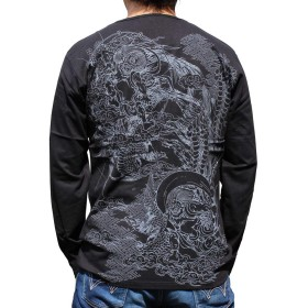 【SOT183-3】【3カラー】和柄 Tシャツ 和柄刺繍長袖Tシャツ 風神雷神柄 Vネックシャツ!!和柄刺繍長袖Tシャツ 和柄メンズ 特攻服 (M, 黒)