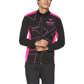 [Mizuno] トレーニングウェア N-XT ウォームアップジャケット 細身 吸汗速乾 32JC9210 ブラック×ピンクグロー 日本 2XL (日本サイズ3L相当)