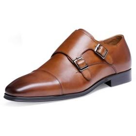 RIBONGZ ビジネスシューズモンクストラップメンズ紳士靴本革革靴