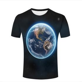 男性と女性の半袖ラウンドネック3D美しい地球のプリントTシャツの基本のカジュアルな通常版 A M