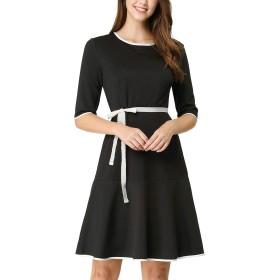 Allegra K 白 Aラインワンピース フレア ハーフスリーブ ウェストリボン フリル裾 ドレス ブラック M