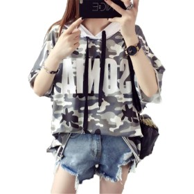 BAJIAN レディース 半袖 Tシャツ パーカー プルオーバー トップス 迷彩柄 ゆったり シンプル かわいい ファッション 春夏 写真通り F