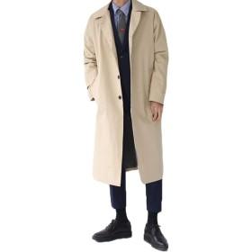 PIITE コート メンズ チェスターコート 秋冬 トレンチコート ロング ゆったりジャケット シルエット 無地 紳士服 スプリングコート ブルゾン アウター 体型カバー シンプル 韓国風カーキ9