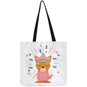 GXMAN トートバック かわいい犬や帽子 キャンバス マザーズバック ショルダーバッグ 大容量 通勤 ショピング