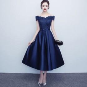 パーティードレス 結婚式 二次会 お呼ばれ Aライン ミモレ丈 半袖 イブニングドレス ネイビー 花柄 大きいサイズ 韓国