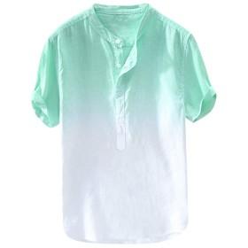 シャツ メンズ 半袖 Rexzo クラーデション 綿麻 半袖 Tシャツ さっぱりした 通気性いい メンズ シャツ シンプル ファッション ワイシャツ 上質 カジュアル トップス 柔らかい 着心地 カジュアル 日常 普段着 お出かけ