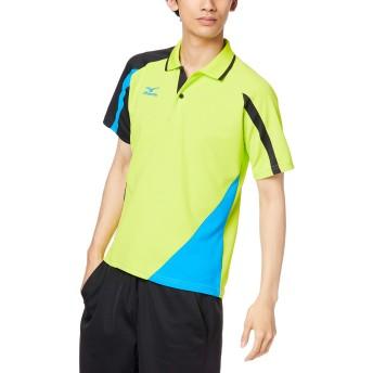 (ミズノ)MIZUNO テニスウェア ゲームシャツ [UNISEX] 62JA6014 37 ライムグリーン×ネイビー S