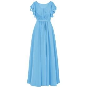 Dresstell(ドレステル) 結婚式 フォーマルドレス フリル袖 ふんわりシフォン ロング丈 レディーズ ブルー 19w号