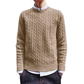 (ネルロッソ) NERLosso セーター 無地 メンズ ニット メンズセーター 長袖 ニットセーター vネック ケーブル編み メンズスタイル クルーネック ベージュ XL cmw2487