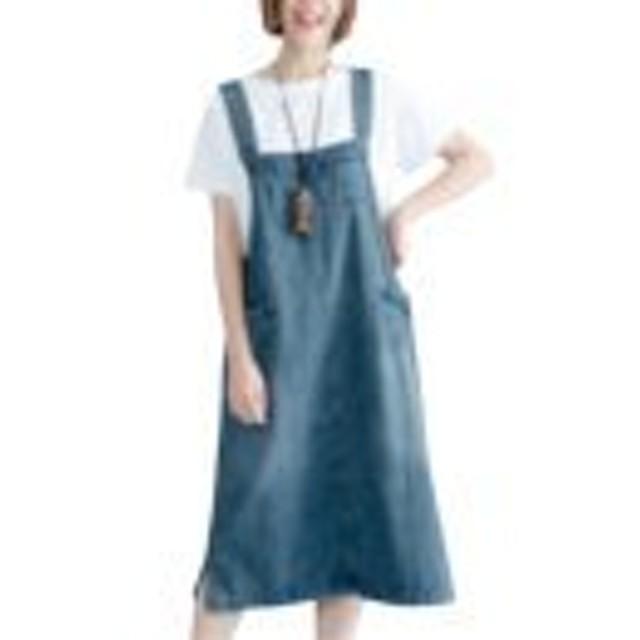 YINUO レディース 春夏 サロペット スカート 吊りスカート 可愛い 膝丈 カジュアル デニムジャンパースカートブルーXL