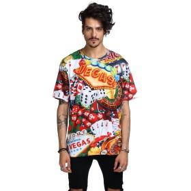 Pizoff(ピゾフ) メンズ 大きいサイズ 半袖Tシャツ 3Dプリント 原宿系 モード トップスY1791-01-3XL
