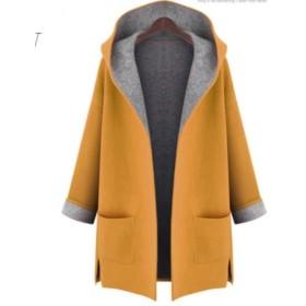 (ドリームアンドドリーム) Dream&Dream 大き目 フード 付き コート ジャケット フェルト 生地風 イエロー 3XL