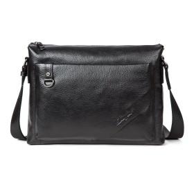 【DANJUE】本物 正規品 天然皮革 横型 ショルダーバッグ メンズ 本革 皮 レザー A4サイズ 通勤 アウトドア 二色 ブラック&ブラウン 1011-3 (黒)
