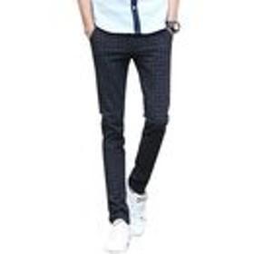 GuDeKe メンズ ズボン ロング丈パンツ チェック柄 カジュアル ゆったり ストレート 修身 通気性 ギンガム スキニーパンツ シンプル 無地 通勤 大きいサイズ 作業着 ブラック33
