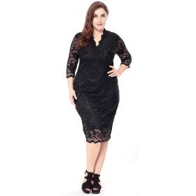 (ラボーグ)La Vogue レディース ゆったり ワンピース フォーマル タイト ドレス ひざ丈 レース Vネック 7分袖 パーディー 二次会 結婚式 大きいサイズ ブラック 5XL