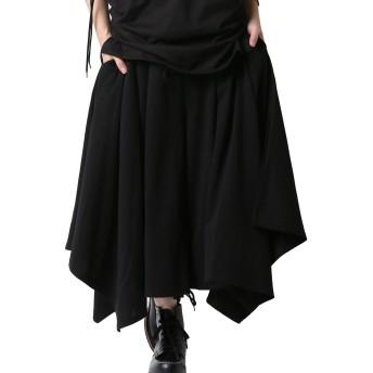 [アズスーパーソニック] ワイドパンツ ロング丈 モード系 アシメ ガウチョ 日本製 メンズ 黒 F