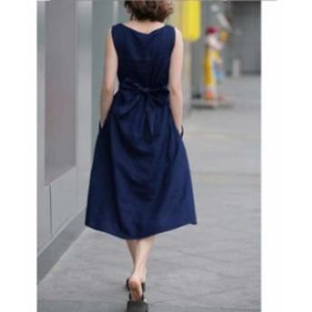 ワンピース ドレス Aライン タック ミディ丈 2色 ウエストリボン