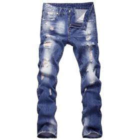 FOMANSH ダメージジーンズ メンズ デニムパンツ ジーンズ ダメージ加工 スリム カジュアル ウォッシュ ボトムス ロングパンツ ヴィンテージ加工 ファション