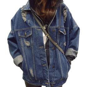 MISSMIAOレディース ジージャン デニム ジャケット ダメージ 加工 アウター 上着 Gジャン 胸ポケット デニム ジージャン オーバーコートトップス 長袖 ゆったり (XL)