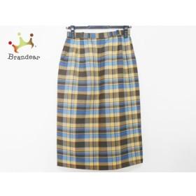 レリアン スカート サイズ9 M レディース 美品 イエロー×ダークブラウン×ブルー チェック柄   スペシャル特価 20191018