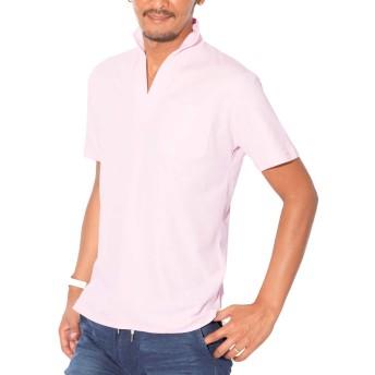 LUX STYLE(ラグスタイル) イタリアンカラー ポロシャツ メンズ 半袖 細身 ひんやり 冷感 ピンクM