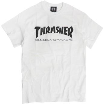 THRASHER Tシャツ スラッシャー マグロゴ 半袖Tシャツ メンズ スケートボードマガジンロゴ (ホワイト, Lサイズ)