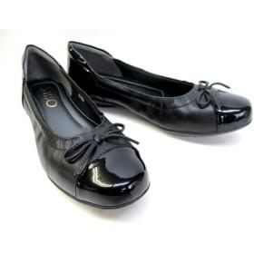 [サッソー] 103 レディース カジュアルシューズ フラット 革靴 リゾート靴 仕事靴 クシュクシュ リボン付き (23.0cm, ブラック)