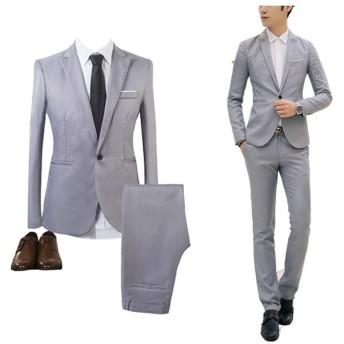 GETS(ゲッツ) スーツ メンズ 2点セット スリーピース 上下セット ジャケット スラックス セットアップ1つボタン ビジネススーツ スリム 着心地良い 礼服 結婚式 就職スーツ オールシーズン シンプルデザイン スタイリッシュスーツ パーティー スーツ (グレー,L)