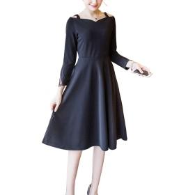 [ココチエ] ワンピース 黒 シンプル ひざ丈 上品 バルーン 袖 装飾 オフショルダー Aライン フレア スカート (L)