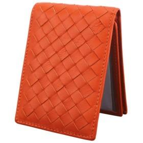 LYLE 定期入れ カードケース 本革 カード入れ 名刺 ICカード 免許証 クレジットカード入れ パスケース 財布型 磁気消え防止 カードポケット 高級レザー 全3色 (オレンジ)