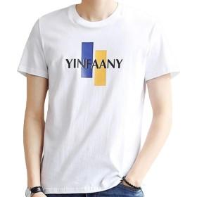 ODFMCE tシャツ メンズ 半袖 薄手 ゆったり 綿 おしゃれ 夏 おおきいサイズ (ホワイト, XL)