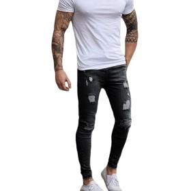 メンズ パンツ ジッパー 破壊された 引き裂かれたパンツ スキニージーンズ ブルースリムジーンズ (XXL, ブラック)